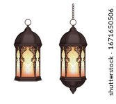 ramadan lantern realistic set...   Shutterstock .eps vector #1671650506