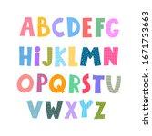 cute color alphabet. hand... | Shutterstock .eps vector #1671733663