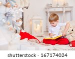 little boy reading a fairy tale ... | Shutterstock . vector #167174024