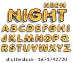 alphabet neon light 3d... | Shutterstock . vector #1671742720