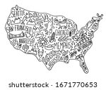 hand drawn doodle usa map.... | Shutterstock .eps vector #1671770653
