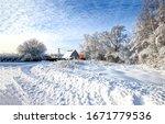 Winter Snow Village Road...