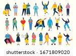 bundle of cartoon men and women ... | Shutterstock .eps vector #1671809020