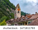 Church in Old City of Unterseen Interlaken, important tourist center in the Bernese Highlands, Switzerland