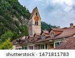 Church in Old City of Unterseen Interlaken, important tourist center in the Bernese Highlands, Switzerland