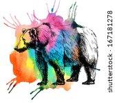 bear and watercolor spot.... | Shutterstock . vector #167181278