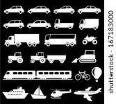 transportation icons set | Shutterstock .eps vector #167183000