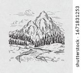 mountain landscape river pine... | Shutterstock .eps vector #1671831253