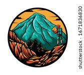 mountain explore man vector... | Shutterstock .eps vector #1671836830