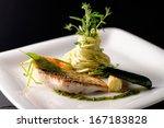 fine dining  trout fish fillet... | Shutterstock . vector #167183828
