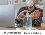 Coronavirus. Man Working From...