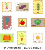 set of stamps with the image of ...   Shutterstock .eps vector #1671855826