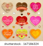 happy valentines day cards set... | Shutterstock .eps vector #167186324