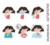set of icon  diseases symptoms... | Shutterstock .eps vector #1671876703
