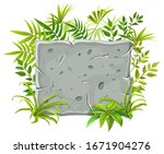 stone board with leaves...   Shutterstock .eps vector #1671904276