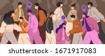 crowd of people wearing face... | Shutterstock .eps vector #1671917083