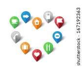 vector illustration of map pins ... | Shutterstock .eps vector #167192363