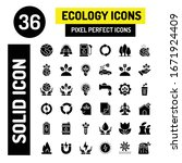 36 ecology solid icon  modern...