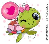 cute cartoon water turtle girl... | Shutterstock .eps vector #1671928279