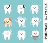 set cute tooth characters in... | Shutterstock .eps vector #1671956416