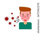 a man cough  virus spread... | Shutterstock .eps vector #1671961270