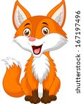 cute fox cartoon | Shutterstock .eps vector #167197496