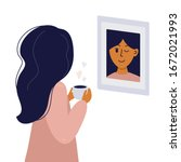 girl looks in mirror and winks... | Shutterstock .eps vector #1672021993