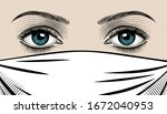the eyes of a beautiful woman... | Shutterstock .eps vector #1672040953
