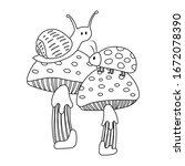 Snail And Ladybird On Mushroom...