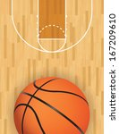 A realistic vector hardwood textured basketball court with basketball at the bottom. EPS 10. File contains transparencies.