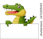 crocodile cartoon with... | Shutterstock .eps vector #1672205443