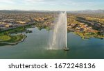 Beautiful Arizona evening with water feature in Fountain Hills
