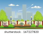 urban landscape with a park on... | Shutterstock .eps vector #167227820