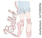 legs of a ballerina dressed in... | Shutterstock .eps vector #1672280056