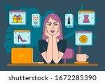online shopping. girl with her...   Shutterstock .eps vector #1672285390