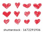 Heart Doodle Icon Set. Hand...