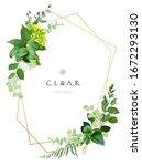 herbal minimalist vector frame. ... | Shutterstock .eps vector #1672293130