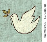 Pencil drawn Christmas dove. Vector. All elements and textures are individual objects.  Seamless background.