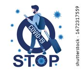 stop  sign with virus covid 19  ...   Shutterstock .eps vector #1672317559