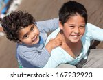 happy little brothers at the... | Shutterstock . vector #167232923