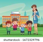 group of little students kids... | Shutterstock .eps vector #1672329796