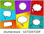 cartoon comic backgrounds set.... | Shutterstock .eps vector #1672347109