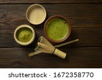 matcha tea with a cup stands on ... | Shutterstock . vector #1672358770