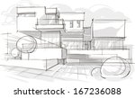 architectural sketch.... | Shutterstock .eps vector #167236088