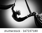 Beautiful Dancer On Aerial Sil...