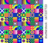 crazy colorful geometric... | Shutterstock .eps vector #167237723