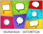 cartoon comic backgrounds set.... | Shutterstock .eps vector #1672387126