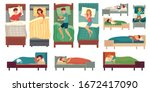 people sleeping in beds. adult... | Shutterstock .eps vector #1672417090