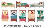 kids sleeping in beds. child... | Shutterstock .eps vector #1672417096