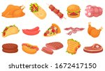 cartoon meat food. fried... | Shutterstock .eps vector #1672417150